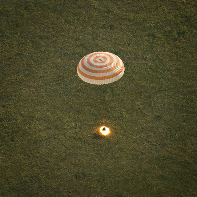 The Soyuz TMA-15M spacecraft is seen as it lands with Expedition 43 commander Terry Virts of NASA, cosmonaut Anton Shkaplerov of the Russian Federal Space Agency (Roscosmos), and Italian astronaut Samantha Cristoforetti from European Space Agency (ESA) near the town of Zhezkazgan, Kazakhstan on Thursday, June 11, 2015. Credit: NASA/Bill Ingalls