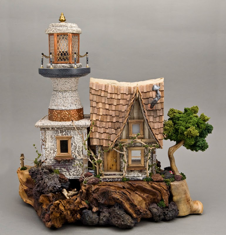 Lighthouse with hand cut cedar shake roof Glass
