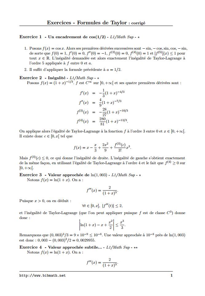 Exercices Corrigés Formules de Taylor