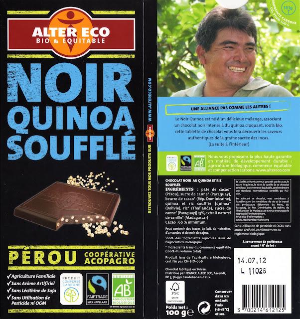 tablette de chocolat noir gourmand alter eco pérou noir quinoa soufflé