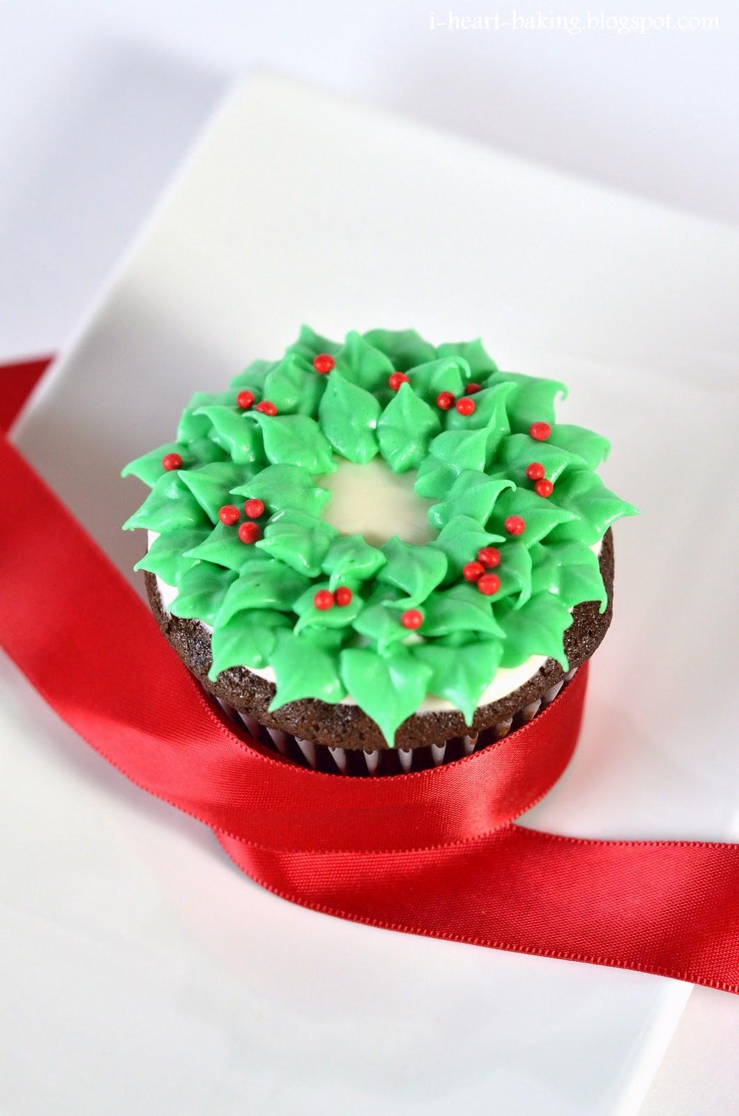 i heart baking christmas wreath cupcakes chocolate cupcakes