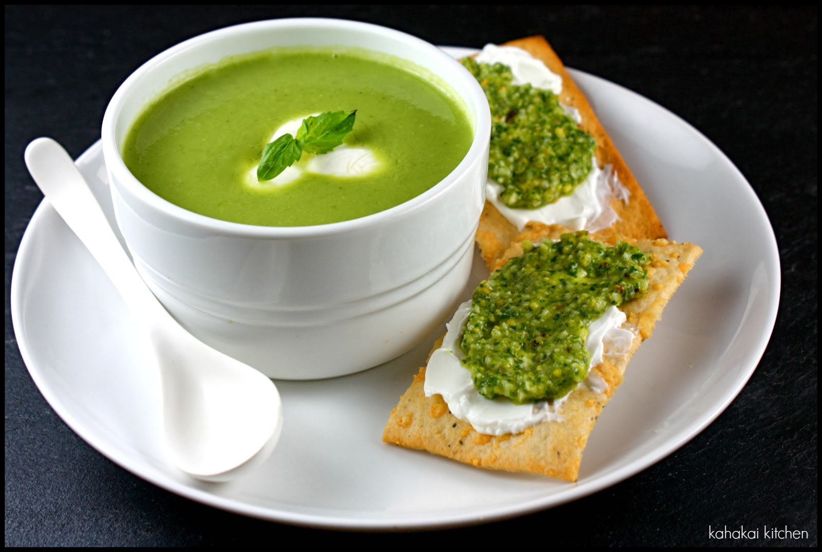 Kahakai Kitchen: Green Pea and Basil Soup (with Labneh & Mint Pesto on ...
