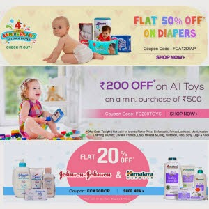 Firstcry: Buy Johnson Baby & Himalaya 20% off on Rs. 188, Diapers 50% off on Rs. 300, Toys Rs. 200 off on Rs. 500