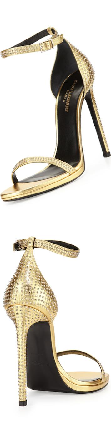 Saint Laurent Studded Ankle-Strap Gold Sandal
