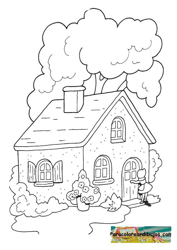 ... colorear la casa donde vive la abuelita de caperucita para imprimir y