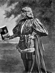Sarah Bernhardt, dressed as Hamlet, contemplating a box of Morton Salt