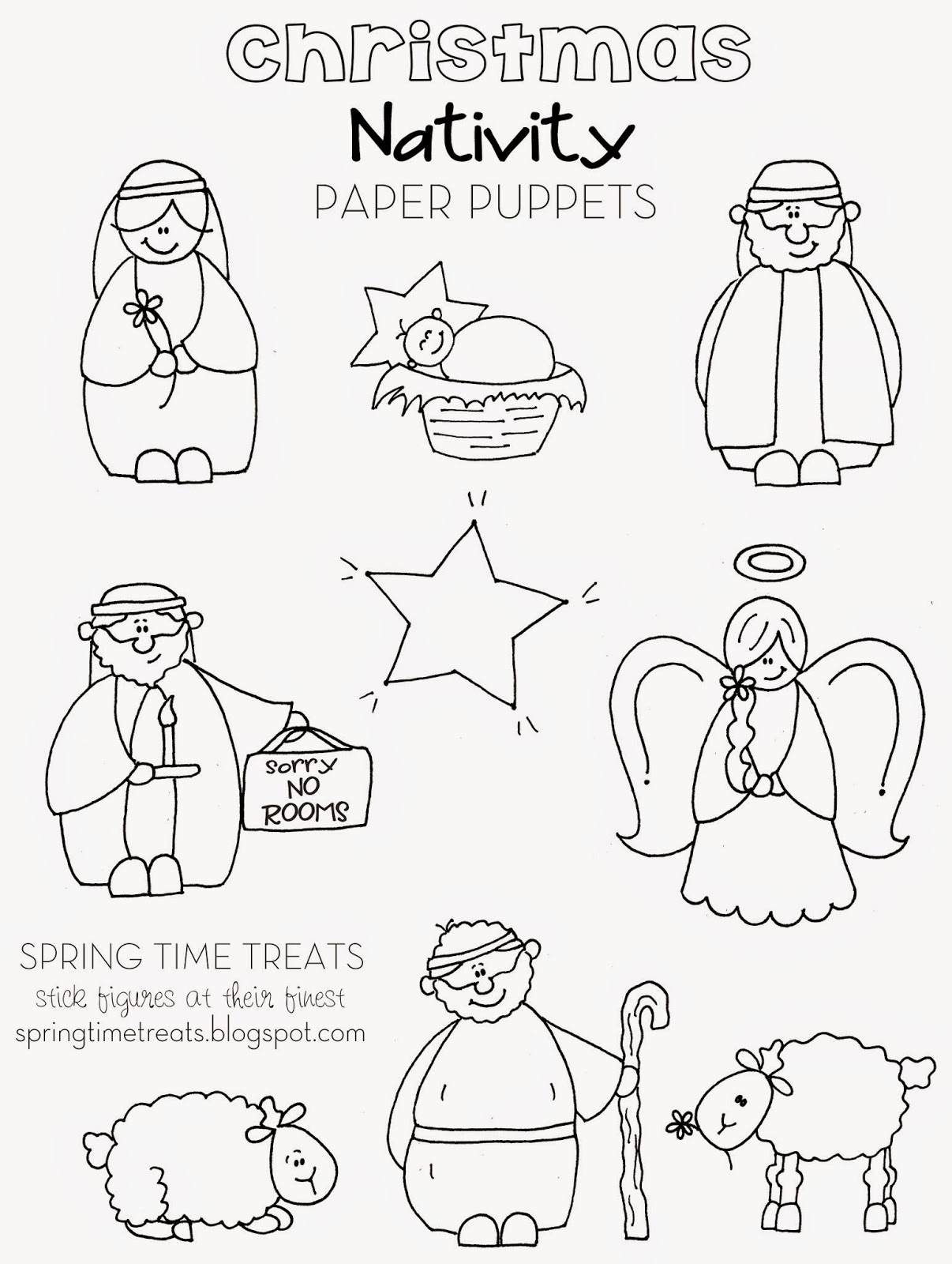 photograph relating to Printable Puppets on a Stick called Nativity paper puppets - Free of charge printables