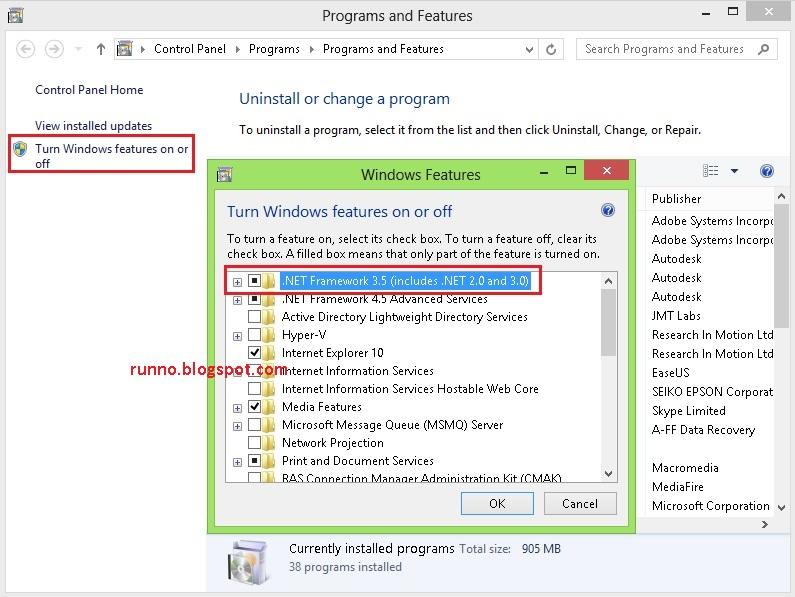 Cara enable Net Framework 3.5 Pada Windows 8 32bit & 64bit (Offline)