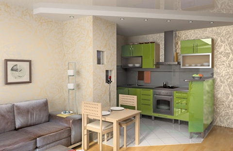 the combination of the kitchen with the living room