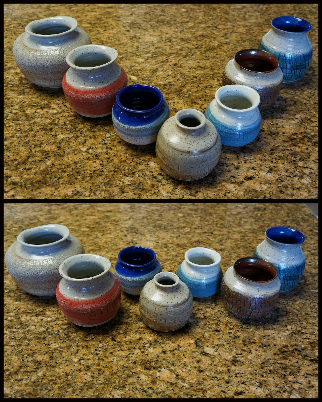 Sodium silicate crackle ceramic pottery wheelthrown vases.