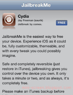 Jalbreakme 3.0 on iPhone interface: Cydia