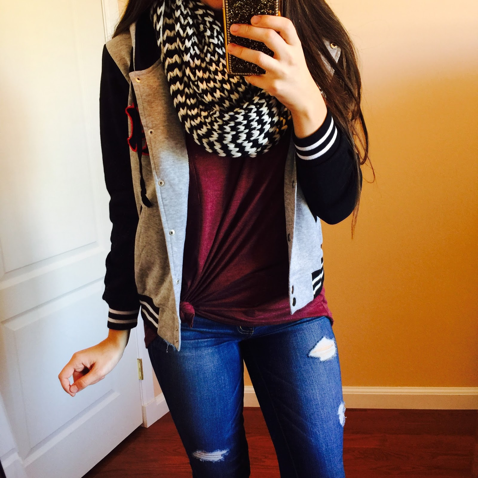 Curvy Outfit Ideas | Petite Outfit Ideas | Plus Size Fashion | Summer Fashion | OOTD | Professional Casual Chic Fashion and Style Inspiration | How to Style a Letterman Jacket | houndstooth scarf, burgundy top, oversized burgundy top, destroyed jeans