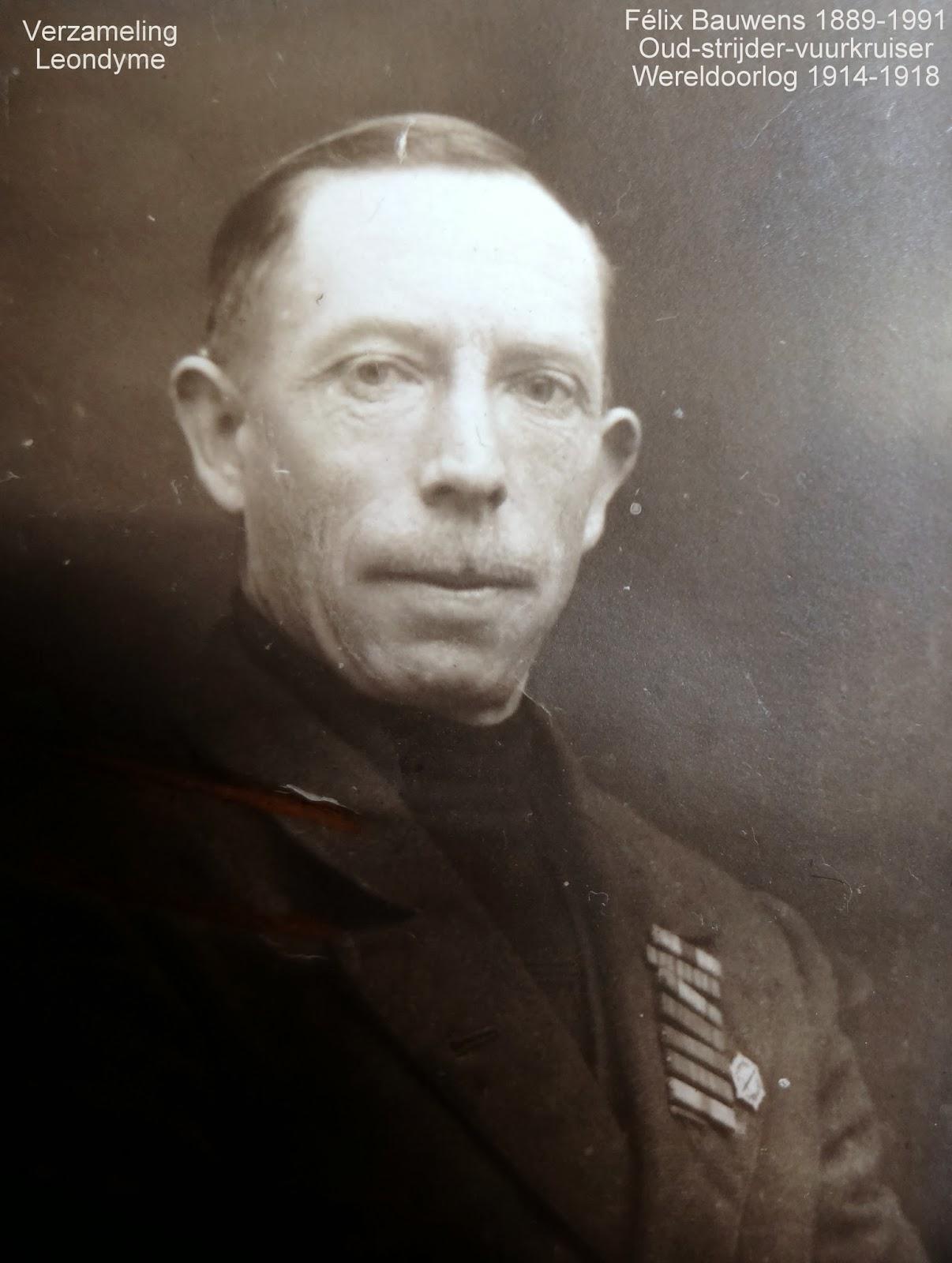 Oud-strijder-vuurkruiser en oorlogsinvalide Félix Bauwens 1889-1991. Foto uit legerarchief van Evere