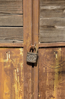 Lock on weathered door at ceramics factory in Beijing