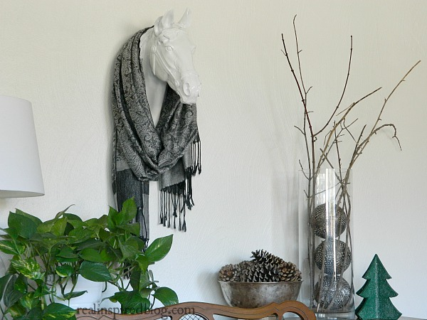 Rustic Green and Neutral Christmas Home Tour 2015: Scarf around Faux Horse Head Taxidermy