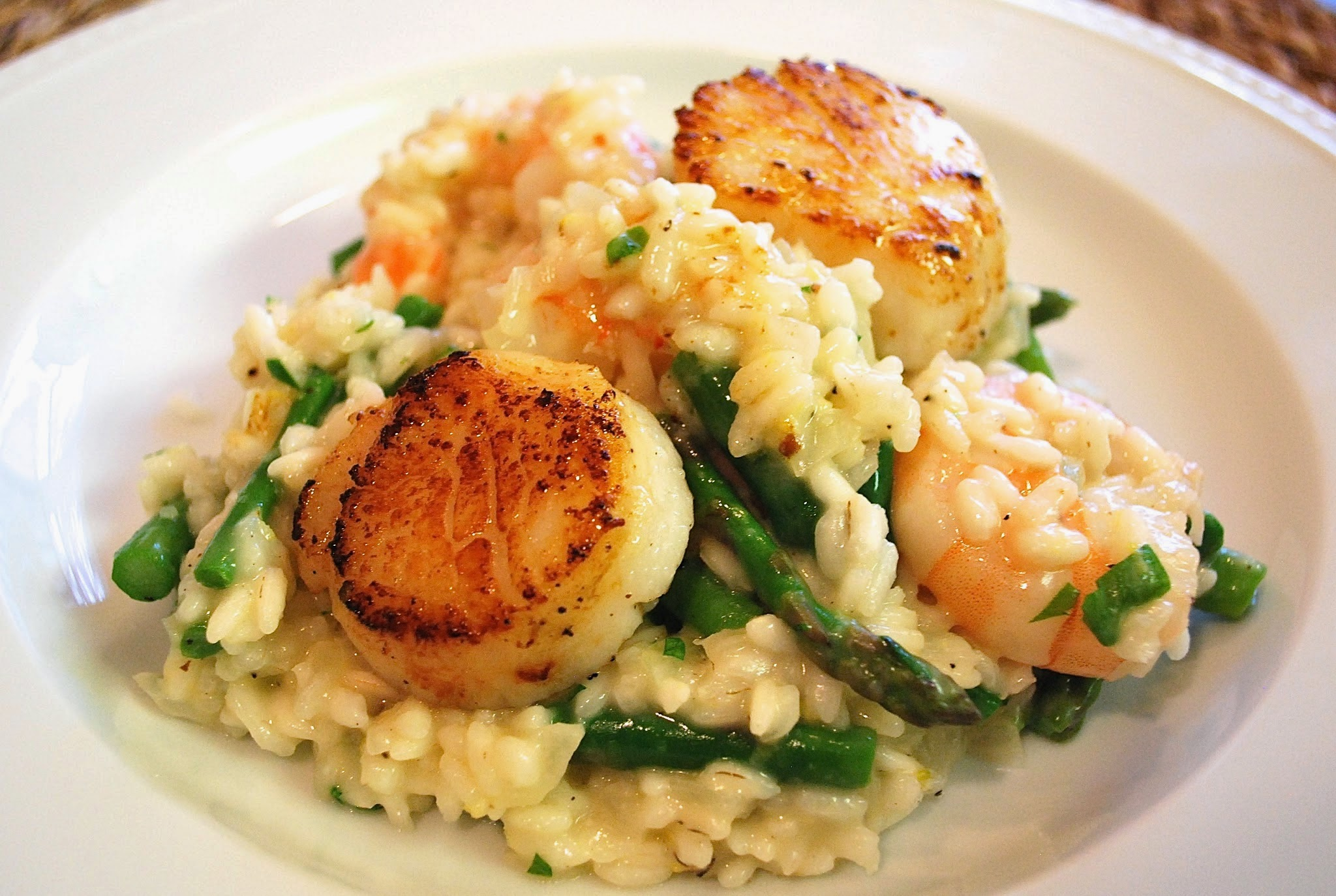 Lemon Asparagus Risotto with Seafood | Bevy Richmond
