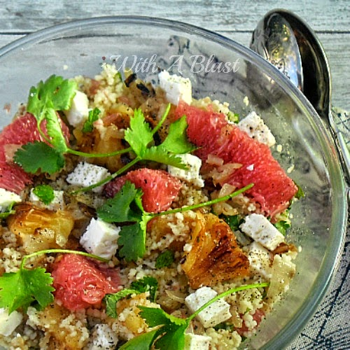 Couscous Salad with Grilled Pineapple and Grapefruit ~ Delicious mixed salad with tangy grilled Pineapple & fresh Grapefruit #Salads #QuickAndEasyRecipe #BBQ #Grilling