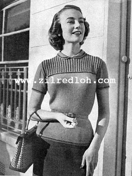 Free Vintage Knitting Patterns 1950s : The Vintage Pattern Files: 1950s Knitting - Beaded Lucille Jumper
