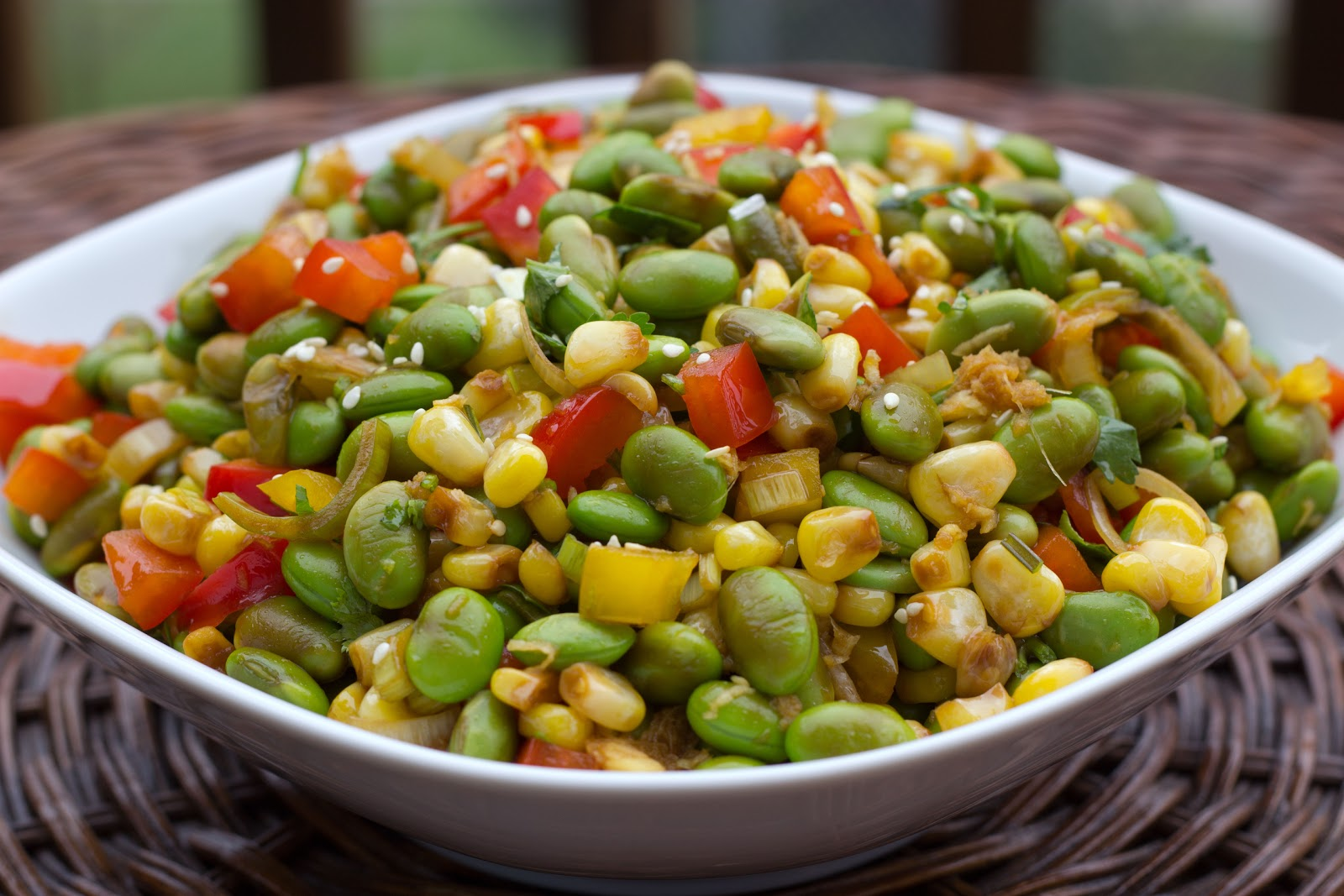 toasted corn cherry tomato and edamame salad recipes — dishmaps