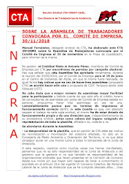 SOBRE LA ASAMBLEA DE TRABAJADORES CONVOCADA POR EL COMITÉ DE EMPRESA, 30/11/2018