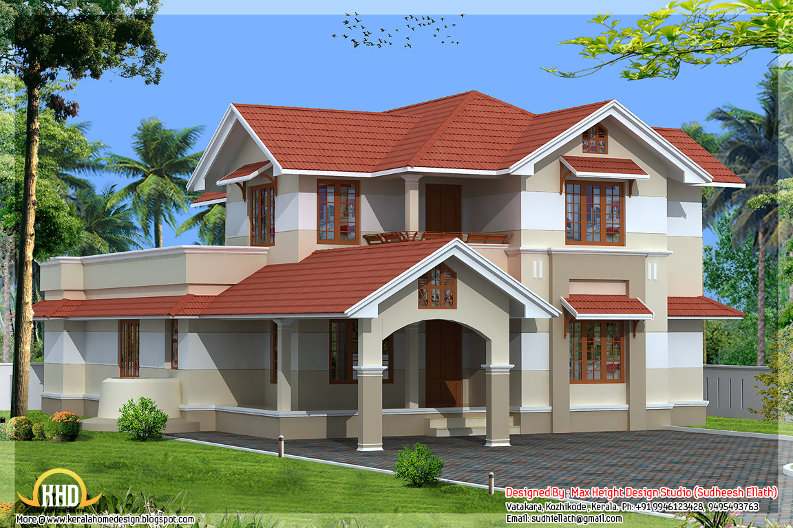 3 beautiful kerala home elevations kerala home design for Kerala style home designs and elevations