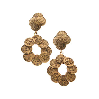 Vintage 1980's gold Chanel earrings made of small coins