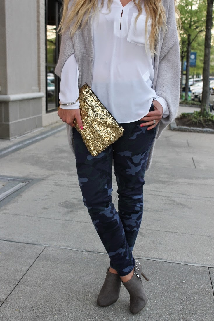 White Blouse with Camo Pants & Sequin Clutch