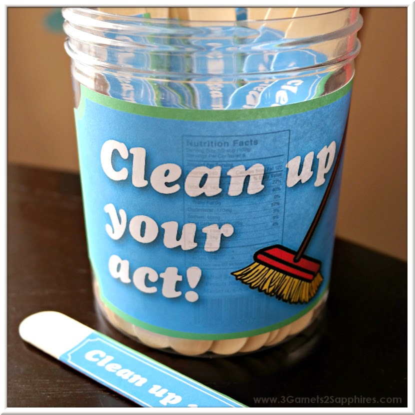 DIY Clean Up Your Act punishment jar tutorial with free printables | www.3Garnets2Sapphires.com