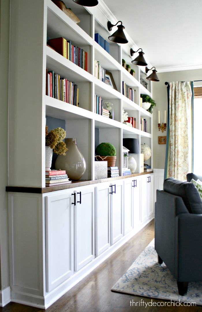DIY built ins with cabinets