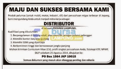 Peluang Usaha Distributor Pelumas Lampung, 16 Agustus 2014