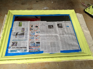 painted mirror frame - citron - thediybungalow.com