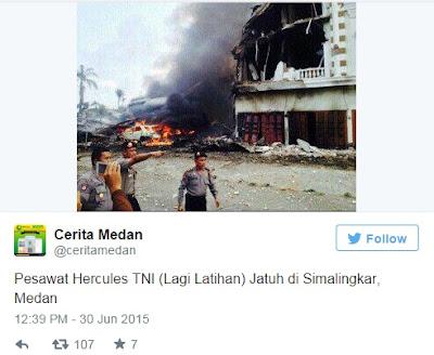 Pesawat Hercules TNI (Lagi Latihan) Jatuh di Simalingkar, Medan