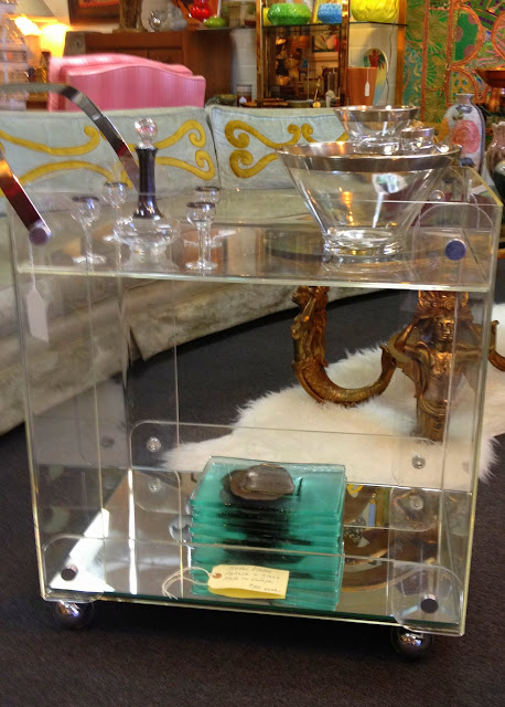lucite bar cart, patina las vegas