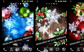 Screenshots of the Snow Stars Go Launcher EX theme for Android mobile, tablet, and Smartphone.