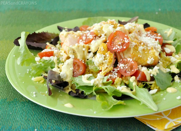 salmon chop chop salad with curry dressing