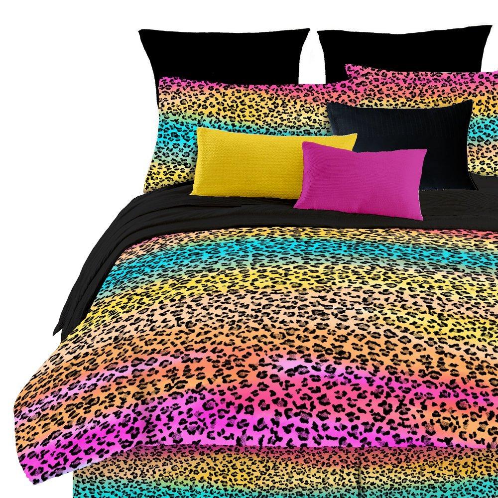 Pink leopard print bedding - Rainbow Leopard Cheetah Comforter Bedding Set For Tween Teen Girls