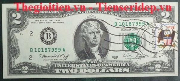 2 đô năm 1976 dán tem