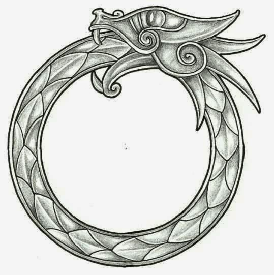 Dragon Celtic ring tattoo stencil