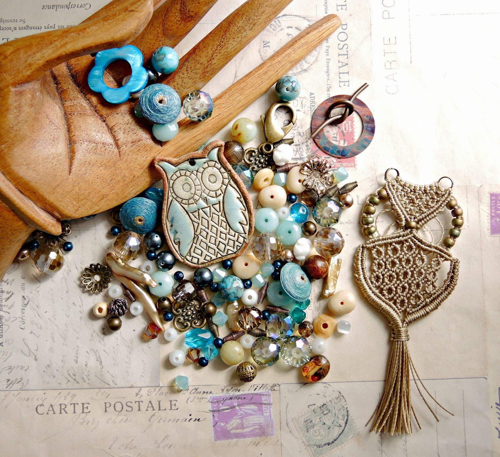 Bead Soup with ceramic owl and micro macrame owl from Sherri Stokey