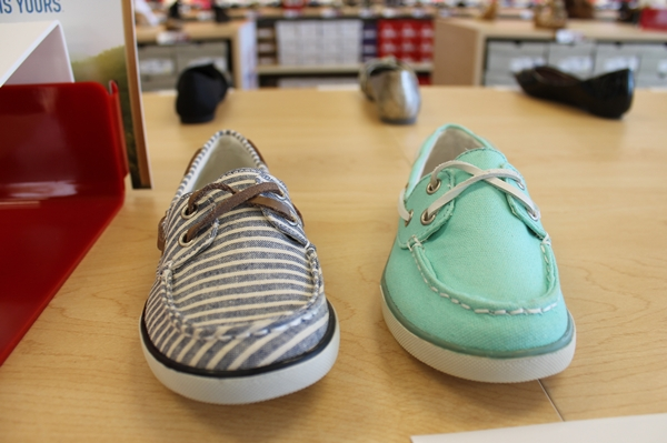 colorful boater shoes at famous footwear