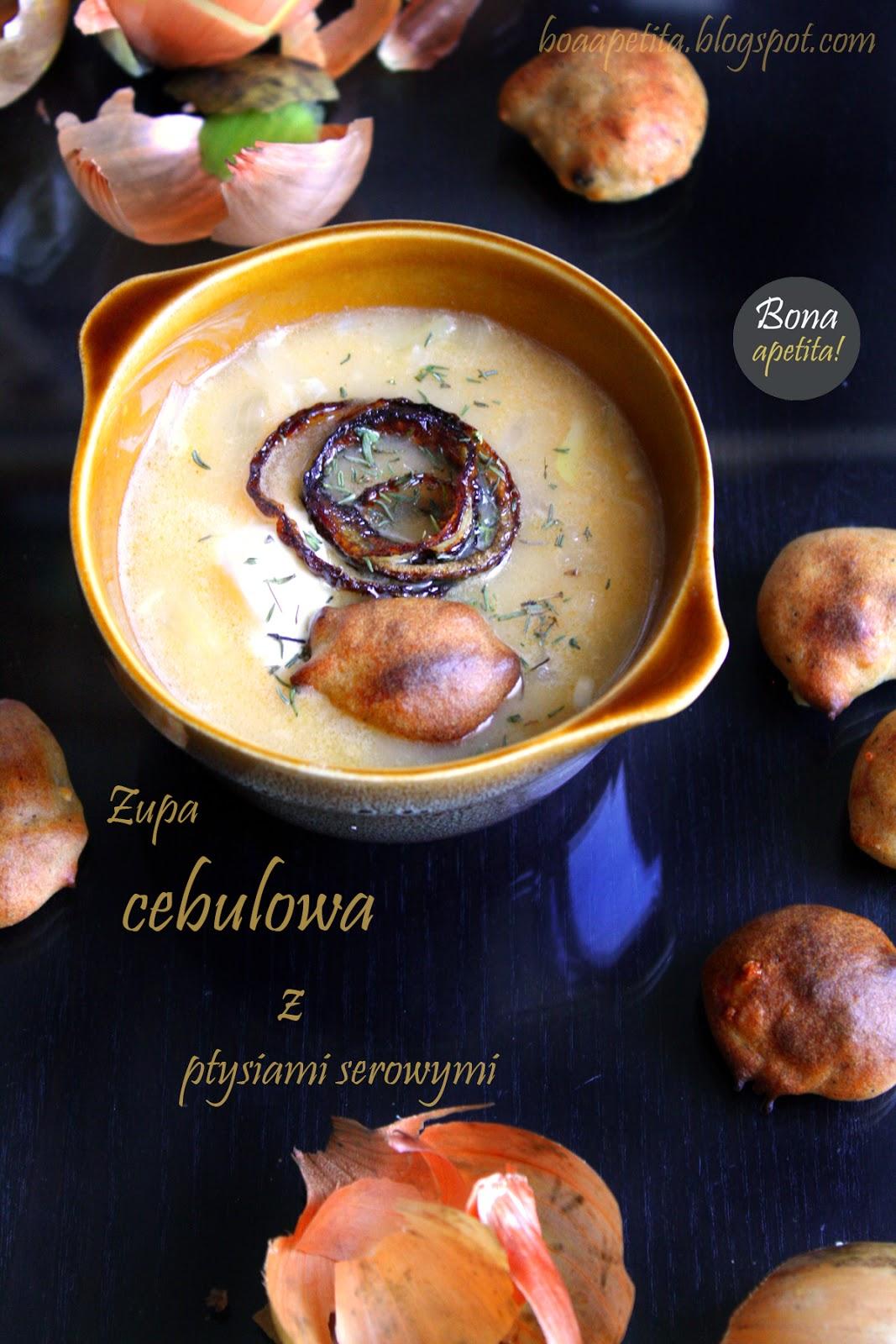 Zupa cebulowa z ptysiami serowymi