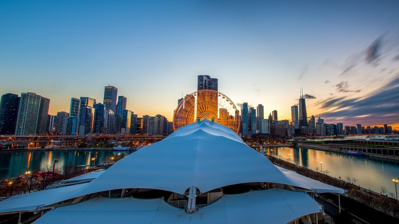 Chicago Navy Pier Skyline Sunset Photo Print