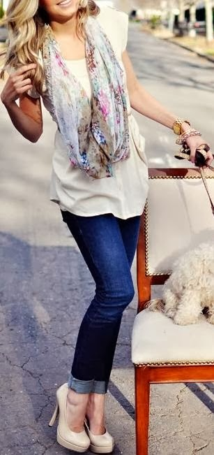 Adorable Street Style - White Blouse and Jeans, Amazing Scarf and High heel Shoes