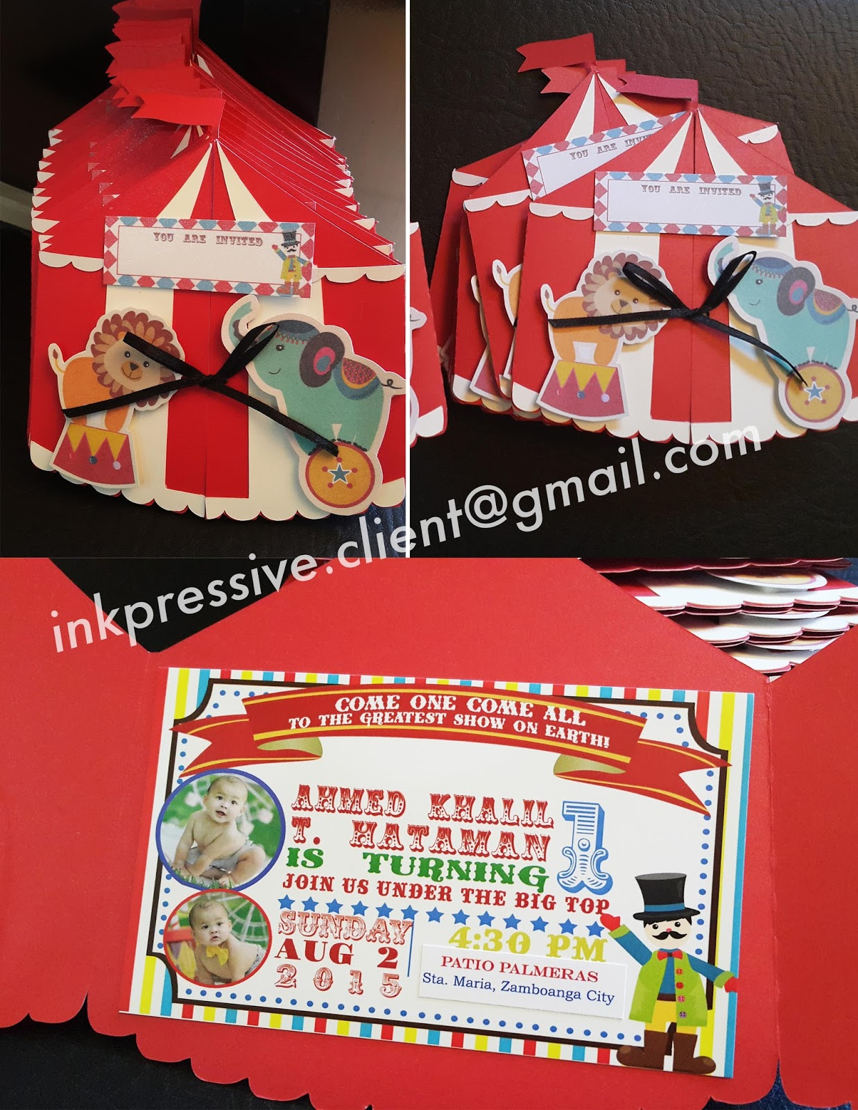 We absolutely love these Circus Tent birthday invitations. The die cut tent shape opens in the front to reveal the invitation details inside. & Circus Tent Invitations | KIDDIE INVITATIONS