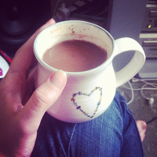A hot chocolate in a delicate cup