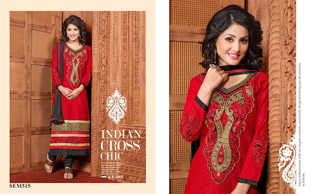 Hina Khan Embroidery Neck Long Salwar Kameez