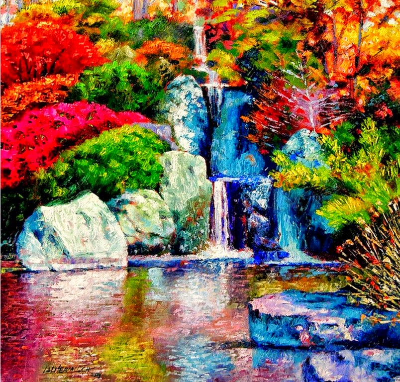 cuadros-de-paisajes-con-agua-y-flores