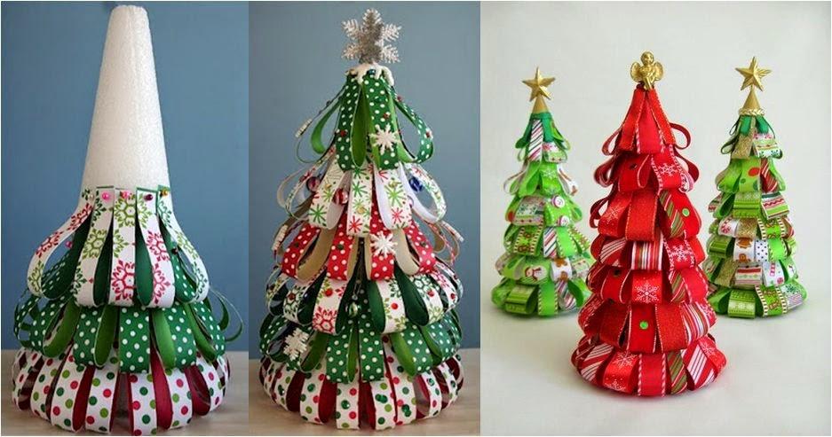 decoracao de arvores de natal de papel:árvore de natal feita com tiras de papel coladas em cone de isopor