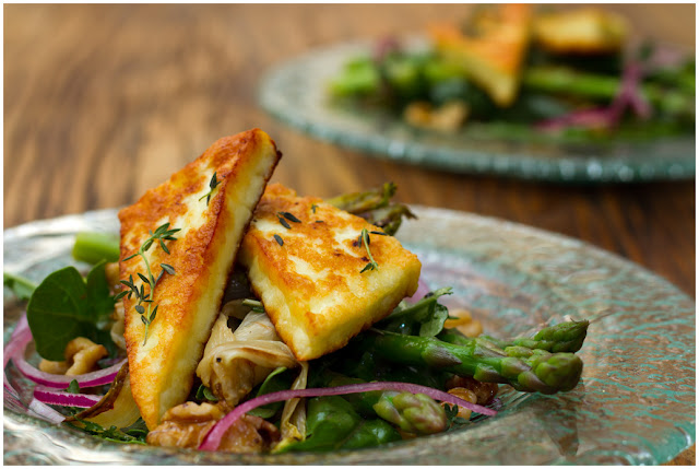 A photograph of Grilled Haloumi with Asparagus and Honey-seared Endive