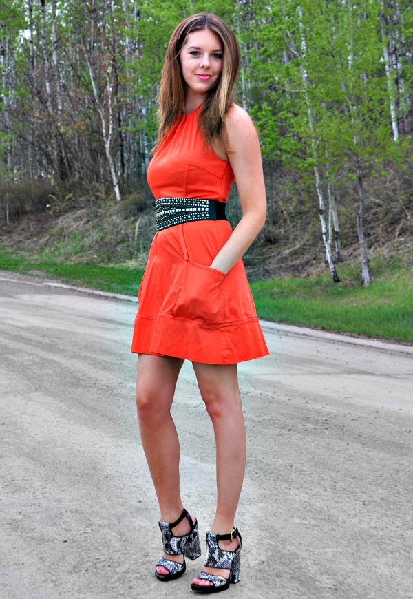Snake Print Sandals with Orange Dress